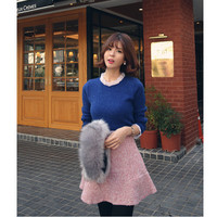 Ruffled Lace Long-Sleeve Knitted Shirt