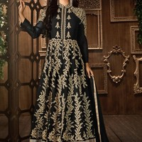 Mouni Roy Black and Gold Party Wear Embroidered Anarkali