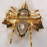 Vintage Gold tone crystal fly brooch pendant 50s