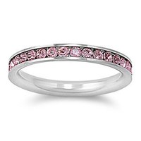 Stainless Steel Eternity Pink Cz Wedding Band Ring 3mm (Size 3,4,5,6,7,8,9,10) ; Comes with Free Gift Box