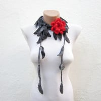 Lariat Scarf,crochet Scarf,Leaf Necklace,Flower Brooch Pin