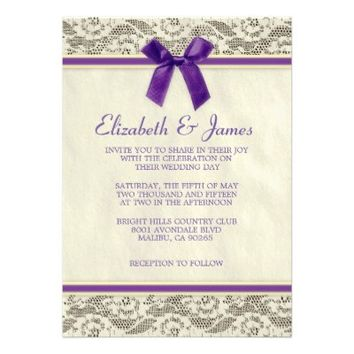 Purple & Gold Country Lace Wedding Invitations