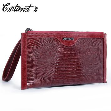 Genuine Leather Women's Clutch Wallet 2017 New Brand Long Slim Wallets Zipper Thin Coin Purse Organizer Phone Bag With Wristlet