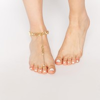 River Island Disc Foot Chain with Toe Rings