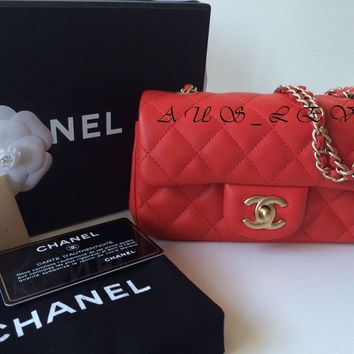 NEW AUTHENTIC RED CHANEL MINI CLASSIC FLAP BAG Lambskin Gold HARDWARE