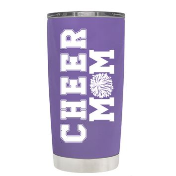 Pom Pom Cheer Mom on Lavender 20 oz Tumbler Cup