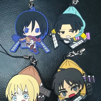 Cool Attack on Titan Anime  LEVI ACKERMAN MIKASA ACKERMAN EREN YEAGER ARMIN ARLERT PVC Figure Keychain Keyring Rubber Cell Phone Strap AT_90_11