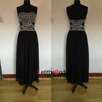 2014 New Ball Gown A line Sweetheart Heavy Beaded Chiffon Black Tulle Long Evening Dress Gown/Prom Dress Gown/Homecoming Dress/Party Dress