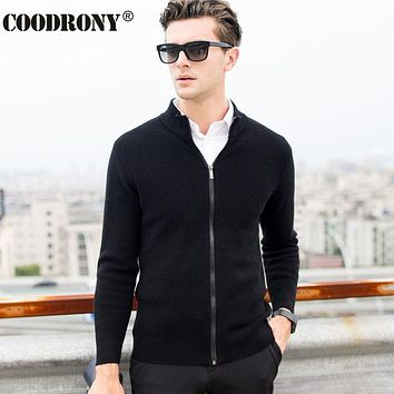 High Quality Winter Thick Warm Cashmere Cardigan Men Zipper Turtleneck Knitwear Men Clothing Merino Wool Sweater Coat