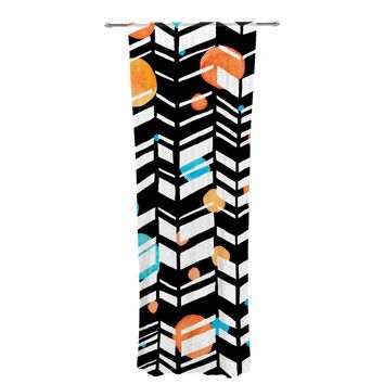 "Robin Dickinson ""Smile More (txt)"" Teal Orange Chevron Pattern Illustration Digital Decorative Sheer Curtain"