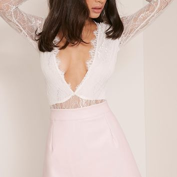 Rose Baby Pink Faux Leather A-Line Mini Skirt
