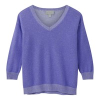 Cashmere Two Tone V-Neck Sweater | Pure Collection USA