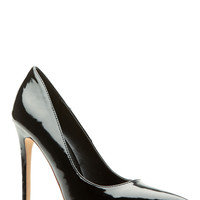 Black Faux Patent Leather Pointy Toe Classic Pumps
