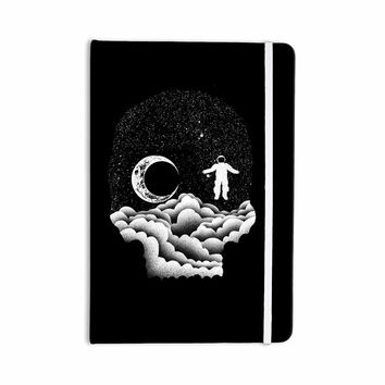 "BarmalisiRTB ""Space Skull"" Black White Illustration Everything Notebook"