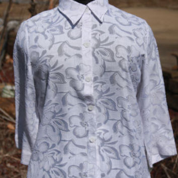 Sag Harbor White Floral Tropical Lightweight Button Up Blouse Womens Size Med