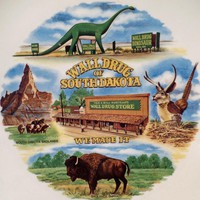 Vintage Souvenir Plate - Infamous Wall Drug of South Dakota - Dinosaur & Flying Jackalope