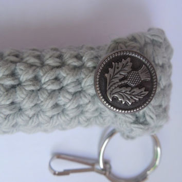 Pretty Gray Lip Balm Cozy with Thistle Design button, Thistle lip balm holder, pretty keyring, chapstick case lanyard, handcrafted crochet