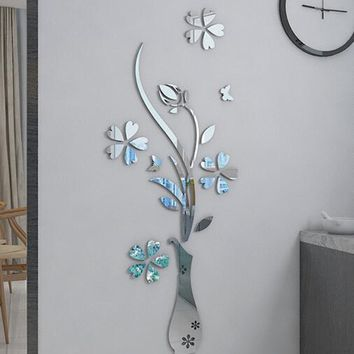 Mirror Flower vase 3d crystal acrylic three-dimensional wall stickers Entranceway mirror furniture decoration sliver gold color