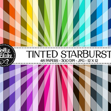 50% OFF! 48 Tinted Starburst Digital Paper • Rainbow Digital Paper • Commercial Use • Instant Download • #STARBURST-101-TINT