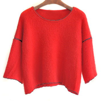 Red 3/4 Flare Sleeve Fluffy Jumper