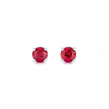 7mm Round Cut Red Ruby CZ Stud Earrings