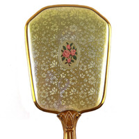 Handheld Mirror With Gold Fabric And Rose Motif - 1950s