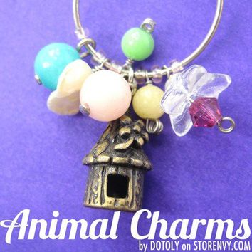 animalcharms | Simple Treehouse Colorful Floral Charm Hoop Dangle Earrings |  Affordable Animal Charms and Necklaces