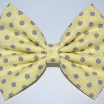 Yellow Hair Bow with Grey Polka Dots