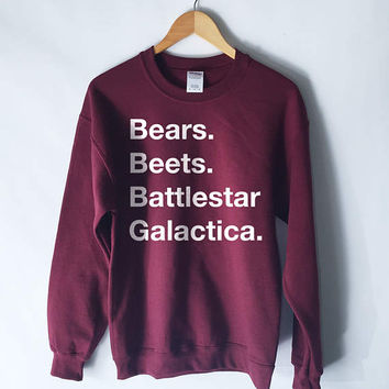 The Office - Bears. Beets. Battlestar Galactica Sweatshirt Jumper - The Office Sweater - The Office Sweatshirt - Dwight Schrute Sweatshirt
