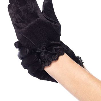 Lace Trimmed Satin Gloves With Bow Accent (Large,White)