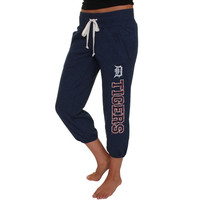Detroit Tigers Ladies Flashback French Terry Capri Pant – Navy Blue