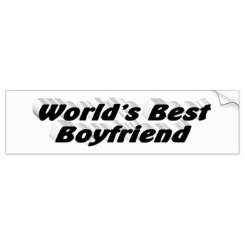 World's Best Boyfriend 3D Bumper Sticker, Black Bumper Sticker