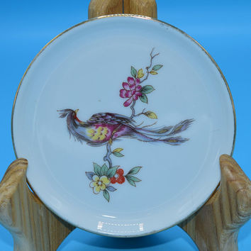 Furstenberg Peacock on Branch Miniature Plate Vintage Bird on a Branch Coaster Porcelain Ceramic Coaster Trinket Dish Ring Holder
