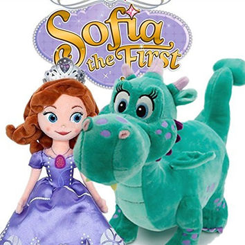 "Disney Sofia the First 13"" Sofia & 12"" Crackle Dragon Plush Doll 2pcs Hot Gift"