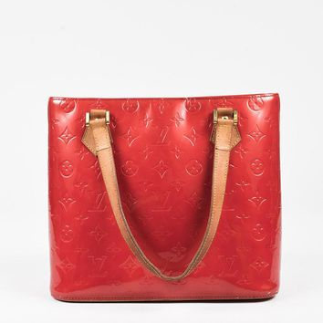Tagre™ Louis Vuitton Red Vernis Leather Tan Handle Houston Tote Bag,most popular women red bags