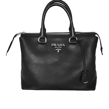 Prada Women's Black Vitello Phenix Leather Handbag 1BA063