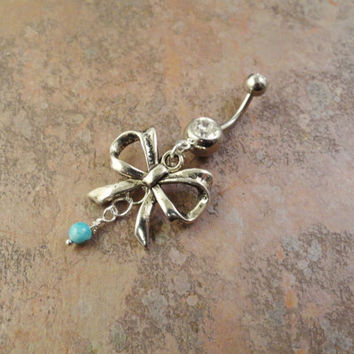 Antiqued Silver Bow Belly Button Ring with Turquoise