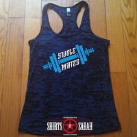 Swole Mates Workout Tank - Dumbbell Best Friends Gym Apparel Burnout Racerback Tanks Working Out Lifting Women's