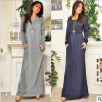Long Sleeve Belt Maxi Dress B0014353