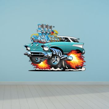 57 Chevy Nomad Cartoon Hotrod 2 Wall Decal