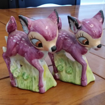 Vintage Purple Deer Faline Falina Bambi Salt and Pepper Shakers Made in Japan Great Decorative Figurine Statue Cake Topper
