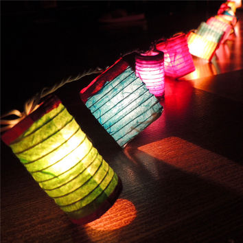 Thailand Lights Handmade Chinese Lantern String Lights Strip Christmas Fairy Garland Wedding Decoration Lights LED