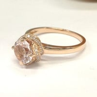 Morganite Engagement Ring 14K Rose Gold!Diamond Wedding Bridal Ring,6.5mm Round Cut Pink Morganite,Flower Unique Design,Can matching band