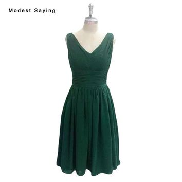 Real Emerald Green Elegant A-Line Short Pleat Bridesmaid Dress 2017 Ziper Up Formal Mini Chiffon Maid of Honor Party Gowns BE148