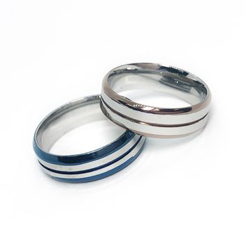 Smooth Lines Two Tone Stainless Steel Ring