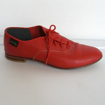 Vintage 1980s New wave / Capezio Red Leather Oxfords / Shoes - Size 6 1/2