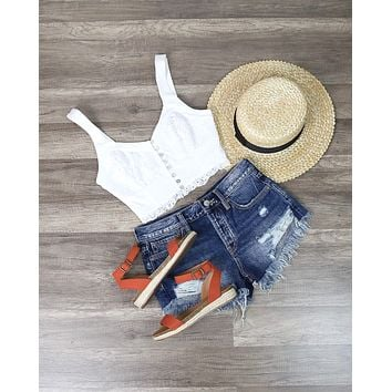 Free People Here I go Brami Lace Crop Top in White