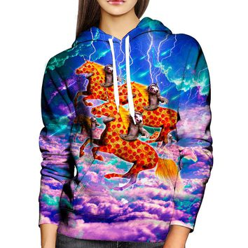 Sloths Pizza Steads Womens Hoodie