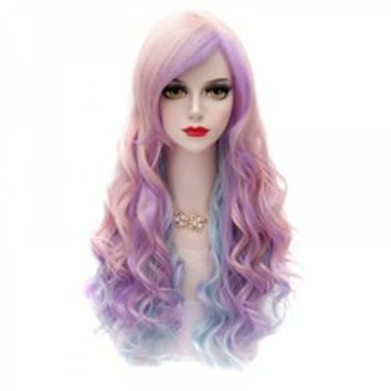 65CM Rainbow Long Wavy Synthetic Hair Side Bang Charming Stylish Lolita Style Cosplay Wig