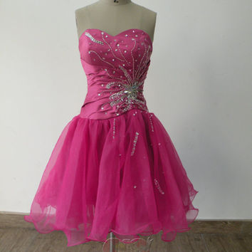 Pretty Lovely Custom made new style cheap beaded sweetheart knee length short Prom/Evening/Party/Bridesmaid/Cocktail/Homecoming Dress Gown